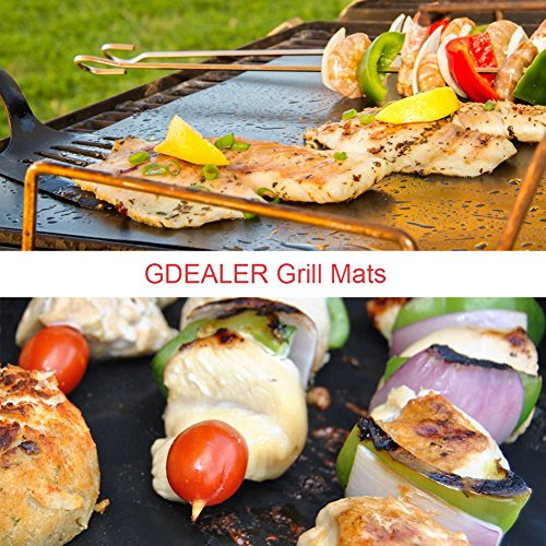 GDEALER BBQ Grill Mat 16''x13'' Barbecue Grill Mats Grilling Mat Set of 4 Reusable Heat Resistant Heavy Duty Non-stick Barbecue Sheets for Baking on Gas, Charcoal and Electric Grills by GDEALER (Image #5)