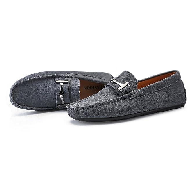 Mocasines de conducción de los Hombres de Cuero Genuino Penny Mocasines Tacos de Suela con botón de Metal decoración: Amazon.es: Zapatos y complementos