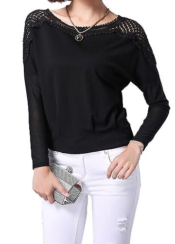 Helan Mujeres Dolman manga blusas de encaje flojo Tops Camisa