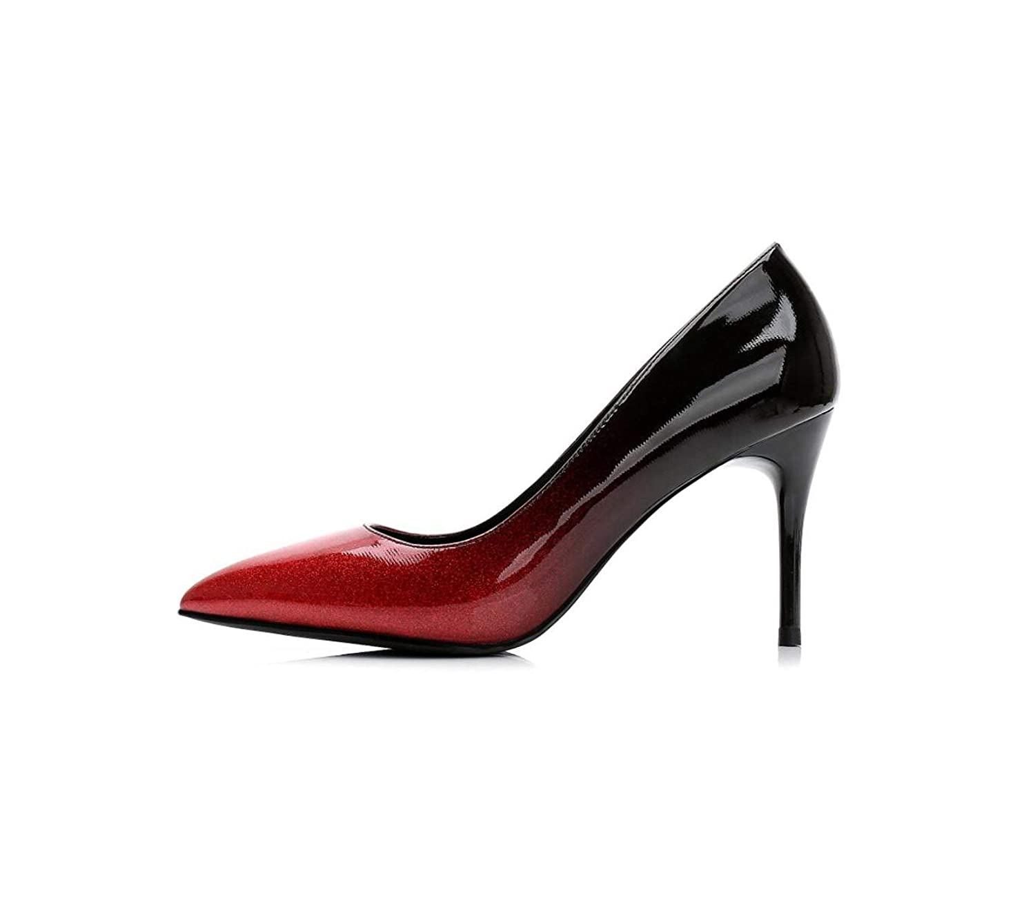 Red to black High Heels Gradually Changing color Patent Leather Pointed Toe Women Office Lady Dress High Heel Pump