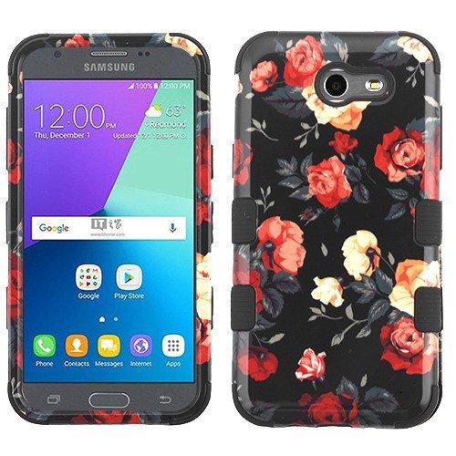 Wydan Case for Samsung Galaxy J3 Emerge, J3 Prime, Express Prime 2, Luna Pro, Amp Prime 2, J3 2017 - Tuff Hybrid Shockproof Case Protective Heavy Duty Phone Cover - Roses