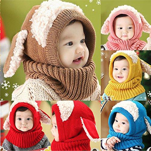nusey (TM) bebé orejas de conejo gorro infantil gorro gorro gorra de invierno  cálido con capucha bufanda de punto con orejeras sombrero marrón marrón  ... 2934f3a3118