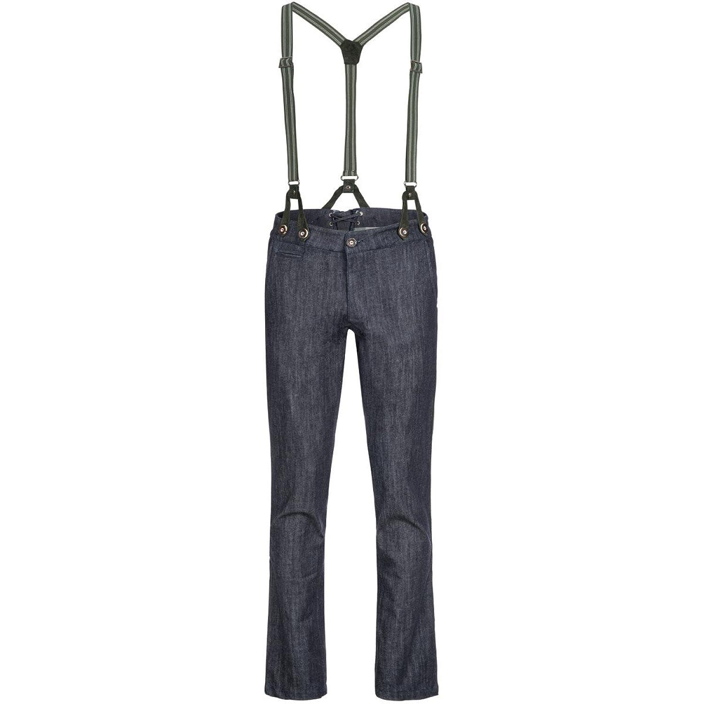 Jeans-Lederhose in Blau von Almsach | inkl. Träger