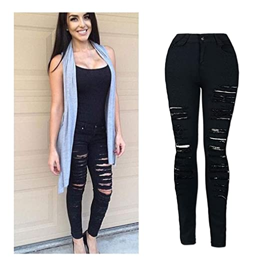 3bd7f56f97 Kehen Women Skinny Denim Sexy Hole Jeans Flare Tron Boyfriend Stylish  Elastic Jean Joggers Pants Slim Pencil Trousers at Amazon Women s Jeans  store