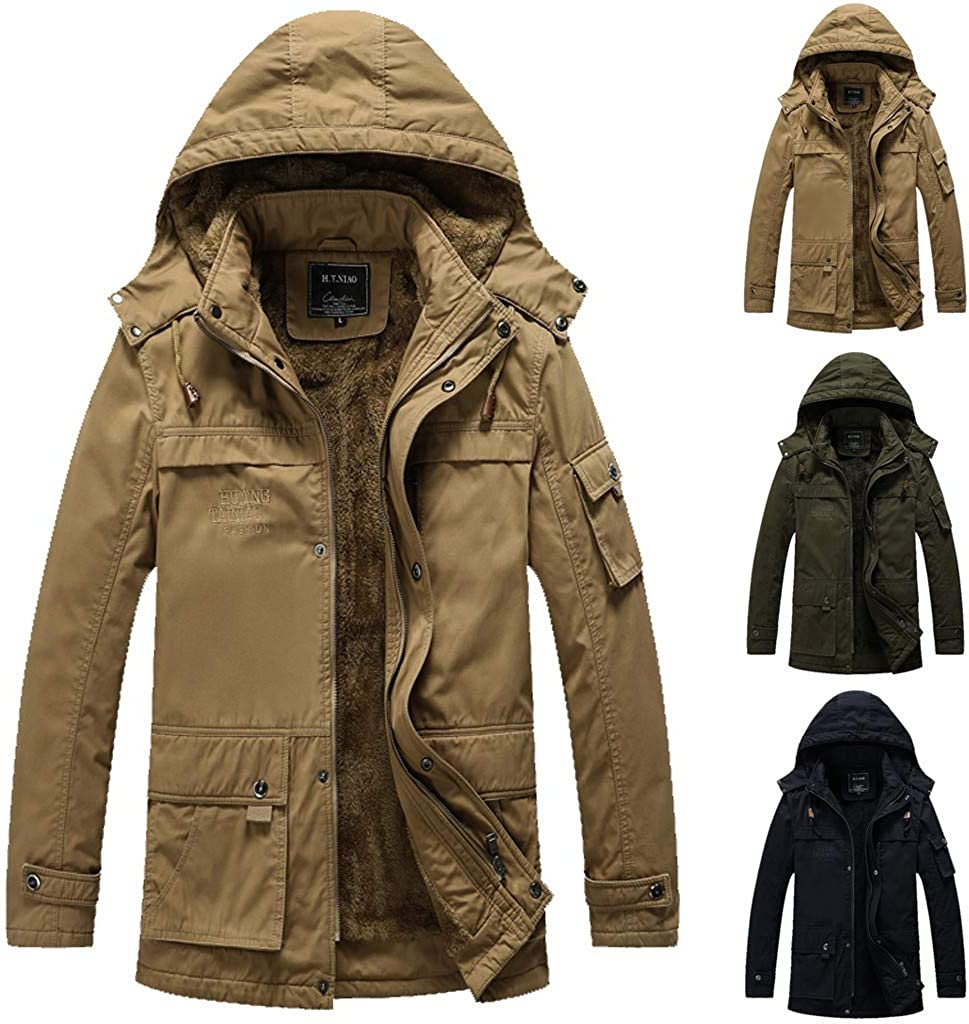 Houshelp Mens Winter Cotton Lined Jacket Pullover Winter Workout Fleece Hoodie Jackets Thick Coats Outwear Hiking Ski