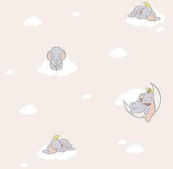 Parato Disney Dumbo Chambre Enfant Taupe Elephant Nuages En