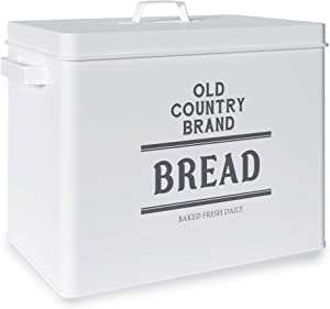 Barnyard Designs Large Bread Box Storage Container, Stainless Steel Metal Breadbox, Old Country Brand Vintage Bread Holder for Kitchen Counter, Farmhouse Style Bread Keeper Bin, White, 13