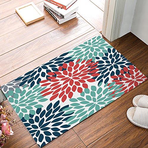 Floral Doormat, Dahlia Flower Teal Navy Red Indoor/Outdoor Non-slip Rubber Welcome Mats Floor Rug for Bathroom/Front Entryway