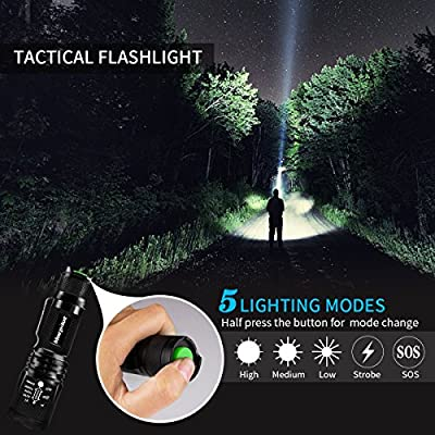 Morpilot Tactical Flashlight Set, Tactical LED Torch, 5 Mode Portable Handheld LED Flashlight, Outdoor Water Resistant Torch for Camping Hiking Backpacking Fishing, with Pocket Knife