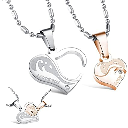 Amazon morenitor heart couples necklaces graved i love you morenitor heart couples necklaces graved i love you promise pendant necklace mothers day jewelry gifts for aloadofball Choice Image