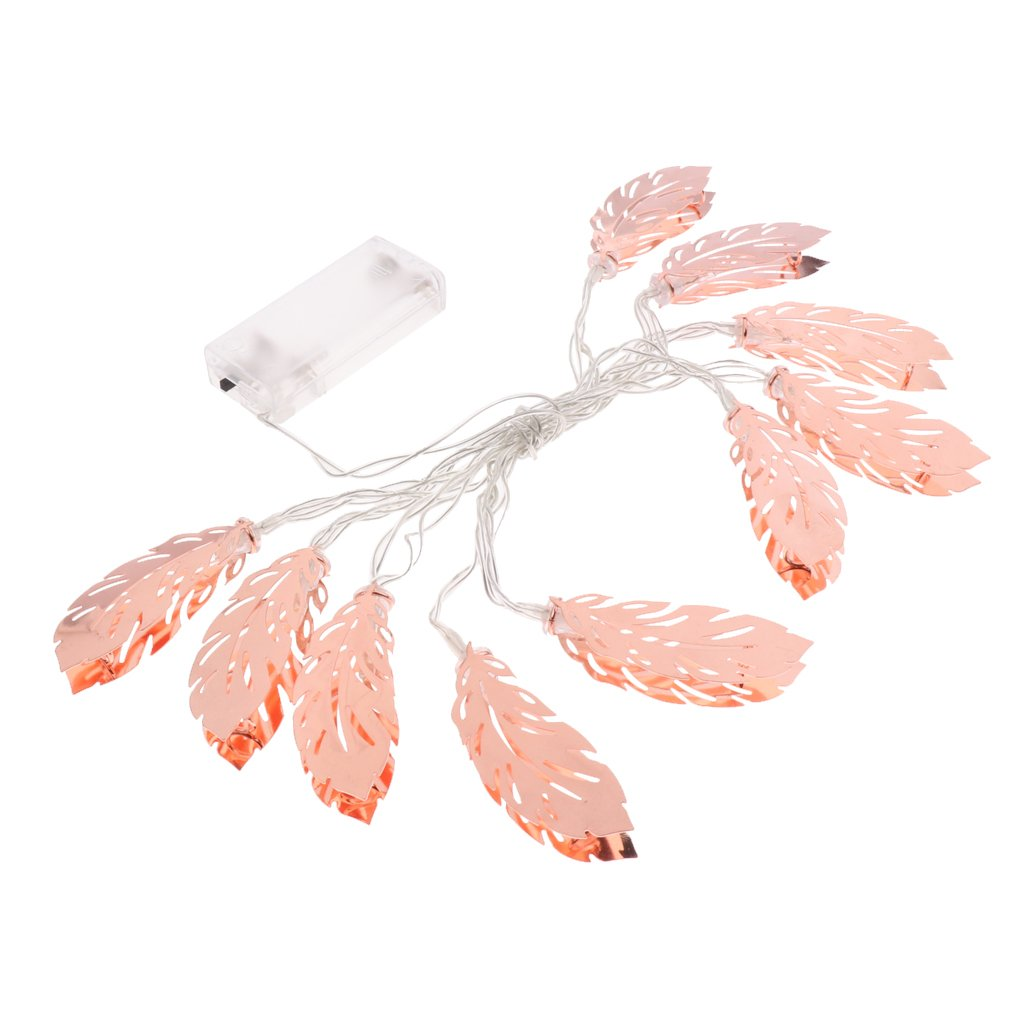 MagiDeal Battery Powered Rose Gold Bedroom Fairy Lights Metal Feather Shaped Lights - Gold, 3 meter 20 LED 0755003800055UKA