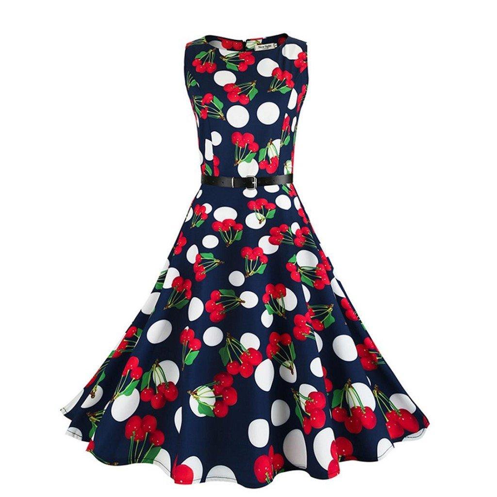 Creazrise Women's Sleeveless Dress,Ladies Casual Cherry Print Hepburn Evening Party Prom Swing Dress (Dark Blue, S)