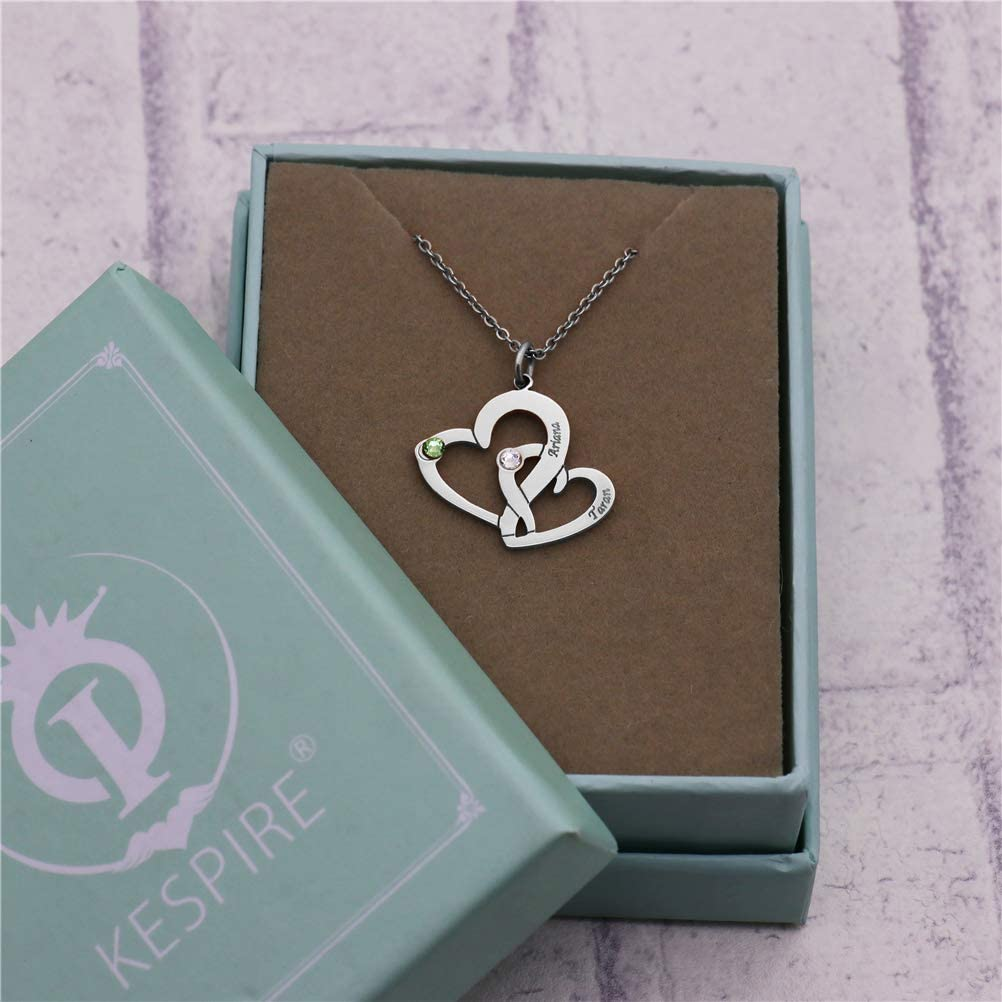 Yandam Carving Name Custom Necklace 2 Hearts Intertwined Custom Birthstone Necklace