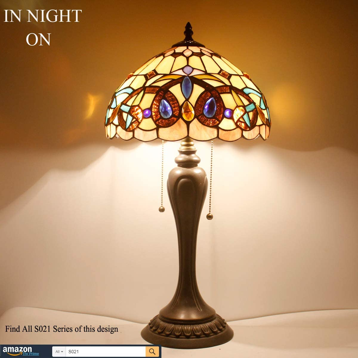 Tiffany Style Table Lamps Wide 12 Tall 22 Inch Serenity Victorian Stained Glass Lamp Shade 2 Bulb Desk Antique Night Light Resin Base for Living Room Bedroom Bedside End S021 WERFACTORY