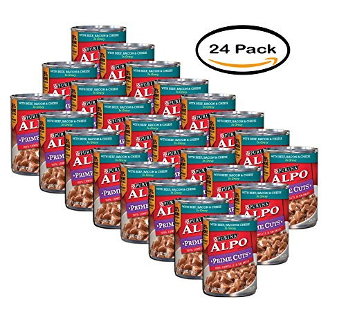 PACK OF 24 - Purina ALPO Prime Cuts Beef, Bacon & Cheese in Gravy Dog Food 13.2 oz. Can by Purina ALPO Brand Dog Food