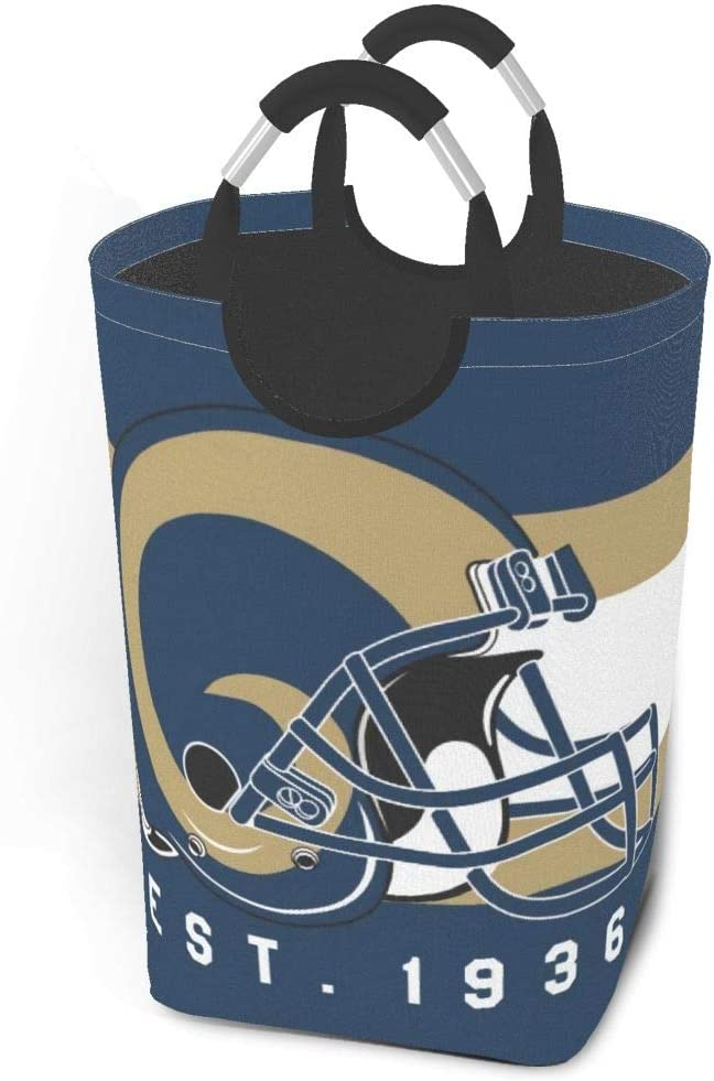 GAJzuiajg Los Angeles Rams Laundry Basket for Dirty Clothes, Oxford Cloth Collection Bucket, Used for Toy Collection Bedroom Decoration,Waterproof Collapsible Laundry Basket