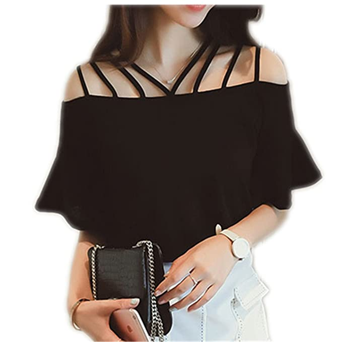 Summer Short Flare Sleeve Blouses Blusas Cotton Blouse At Amazon