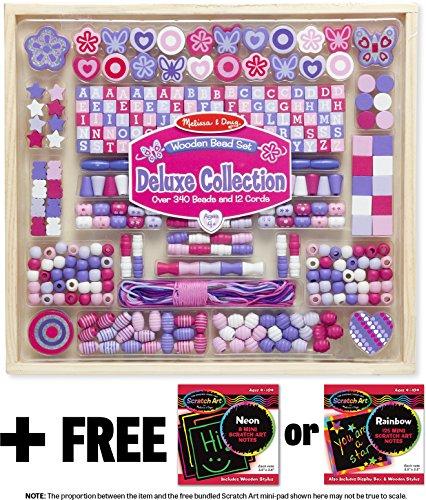 Mini Wooden Bead Set - Melissa & Doug Deluxe Collection Wooden Bead Set (340+ Beads) & 1 Scratch Art Mini-Pad Bundle (09493)