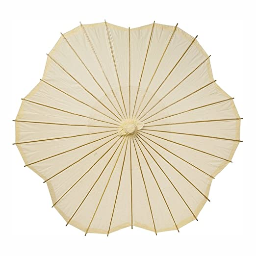Vintage Style Parasols and Umbrellas Luna Bazaar Paper Parasol (33-Inch Ivory Scalloped Edge) - Chinese/Japanese Paper Umbrella - For Weddings and Personal Sun Protection $21.95 AT vintagedancer.com