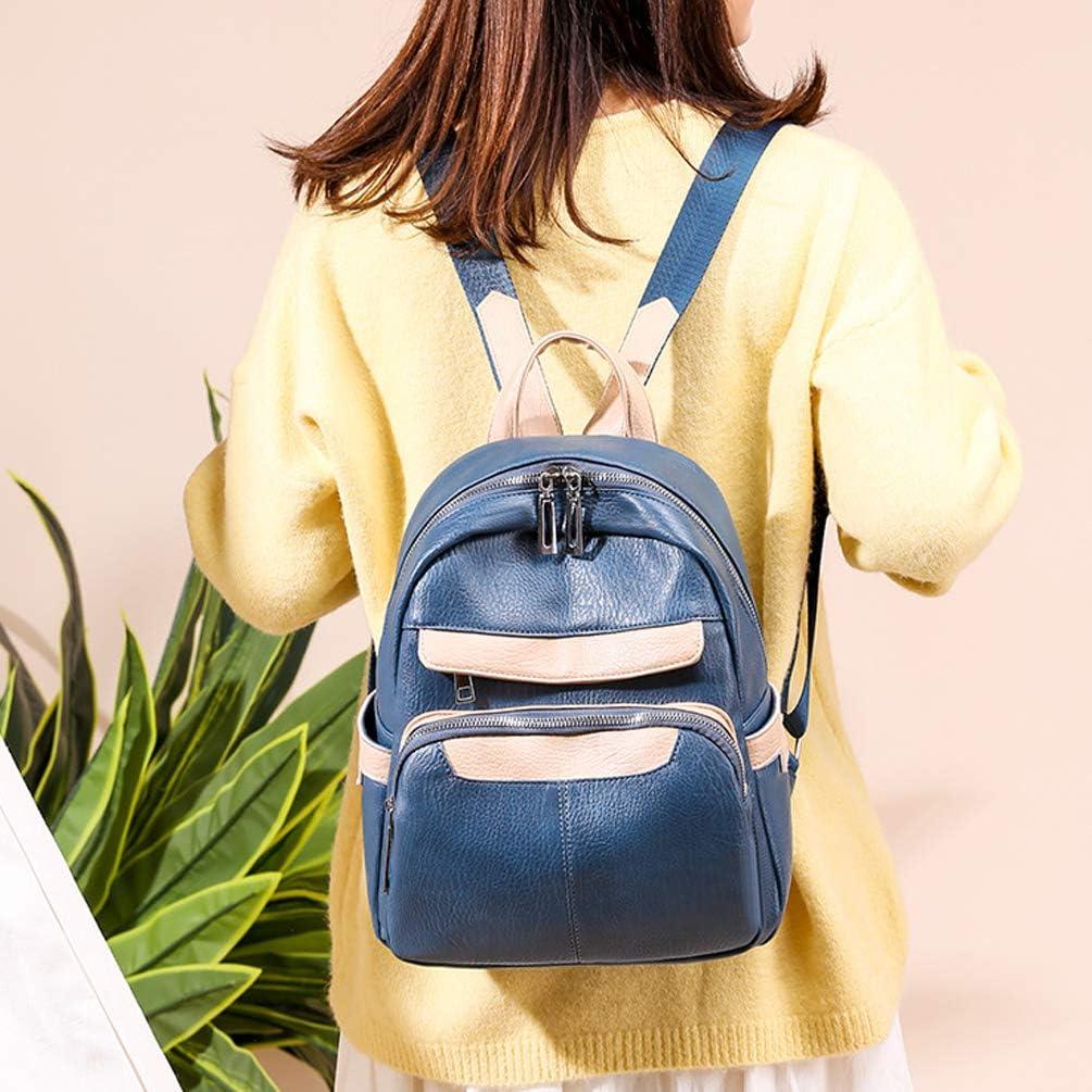 YKXY Retro PU Zaini Donne Scuola Del Cuoio Borse Multifunzionali Di Modo Casuale Daypacks Nero, Blu Blue