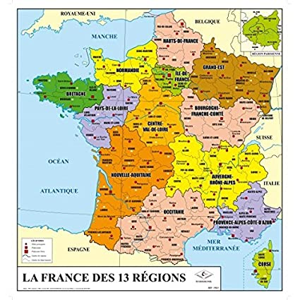 Francia Politica Cartina.Scheda Di Francia Fisica E Amministrativa 13 Nuove Regioni