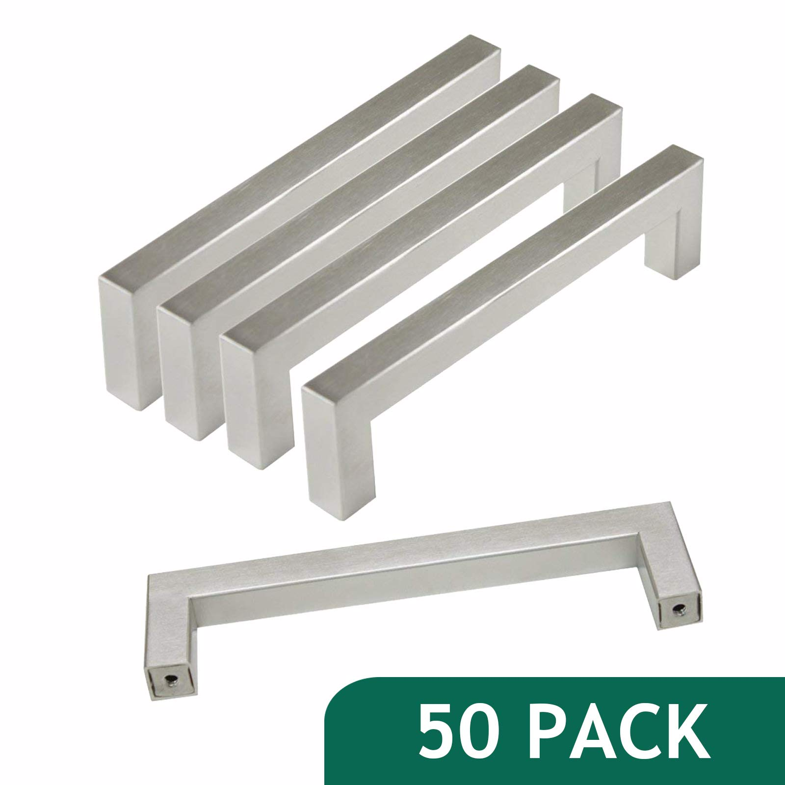 50 Pack-Probrico Stainless Steel Kitchen Cabinet Square Handles Brushed Nickel 5 in Holes Centers, 5.5 in Total Length