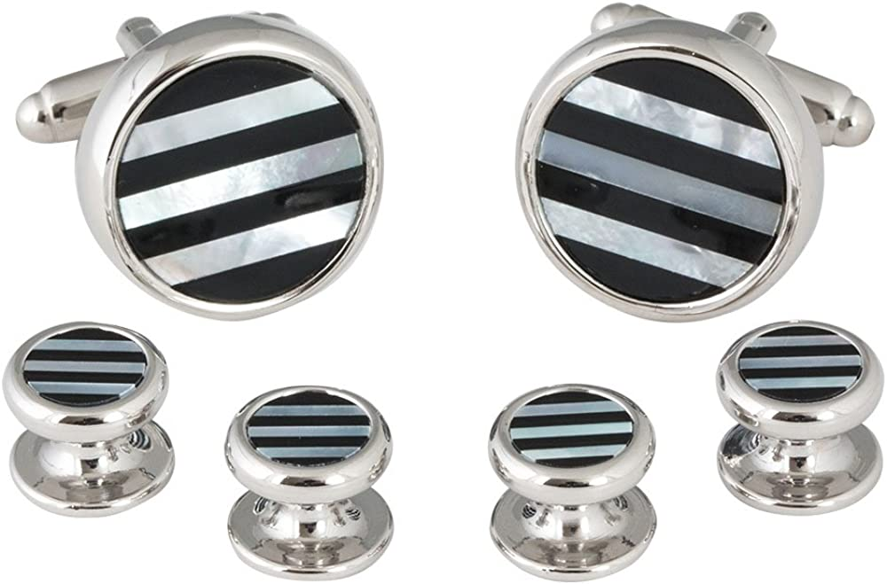 Mens Striped Onyx Mother of Pearl Tuxedo Cufflinks Studs (That Don't Spin) with Presentation Box