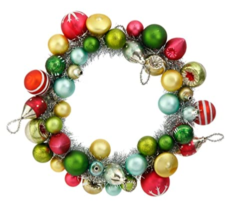 raz 9 vintage holiday ball wreath glass christmas ornament - Christmas Ball Wreath