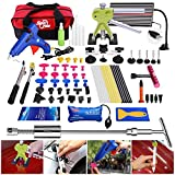 FLY5D 66Pcs Auto Body Paintless Dent Removal Repair Tool Kits Dent Lifter LED Dent Board Silde Hammer Glue Puller Tool Kits with Tool Bag Air Wedge