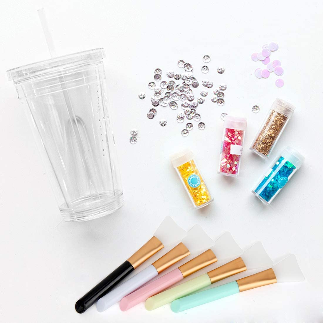 Epoxy Application Sticks Multi-Color Reusable DIY Painting Brush Set for Mix /& Spreading Epoxy Resin Acrylic to Tumbler Cup Colovis Silicone Epoxy Brushes for Making Epoxy Glitter Tumblers Mug