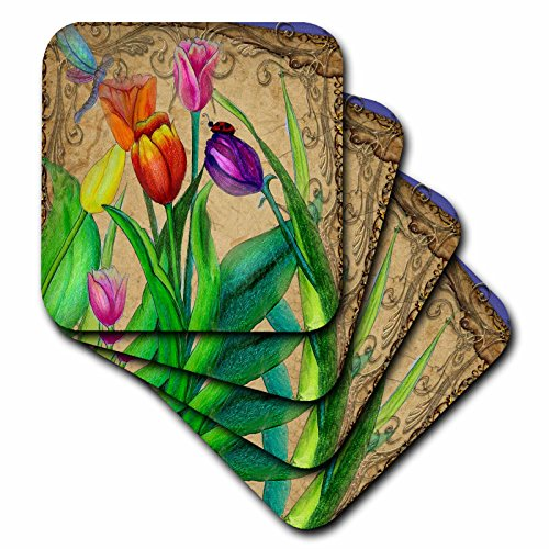 3dRose CST_195392_3 Fantasy Tulips Ceramic Tile Coasters, Set of 4