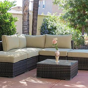 Zebrano - jardín al aire libre esquina sofá con mesa de café y ...