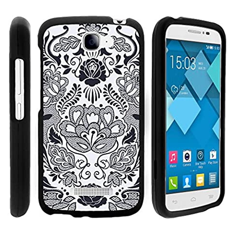 Snap On Case for Alcatel One Touch Fierce 2 7040T , Slim Fit Snug Rubberized Custom Unique Image Cover Shell Black with Designs Pop Icon A564C By TurtleArmor | 2 in 1 Combo Includes Clear Screen Protector and Case - Black & White (Alcatel Android 4g Fierce 2)