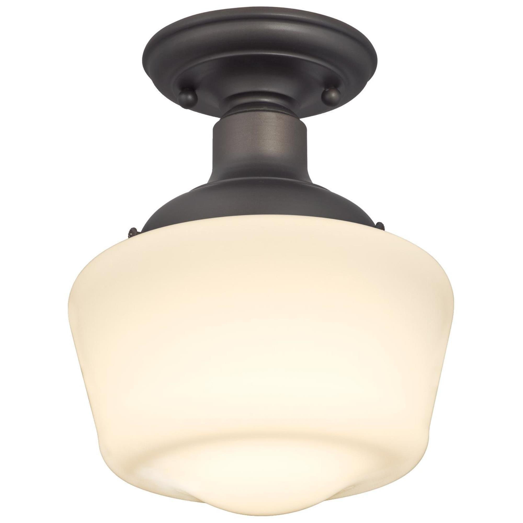 Westinghouse 6342200 Scholar One-Light Indoor Semi-Flush Ceiling Fixture, Oil Rubbed Bronze Finish with White Opal Glass