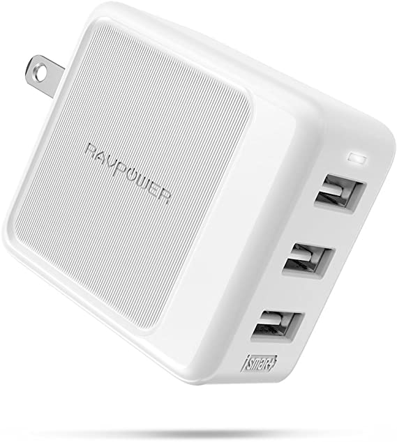 USB Wall Charger 3 Port 30W RAVPower Travel Charger Multi Port USB Charger Charging Station Adapter, Compatible iPhone Xs Max XR X 8 7 Plus, iPad Pro