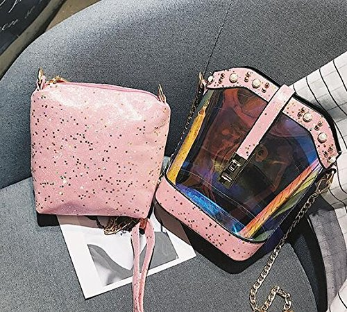 Rosa w Trasparente 8cm Pink Una Sola A Gelatina 18cm Borsa Spessa Burenqi Caso alta Tracolla 20cm borsa benna Con anZxf5xqgP