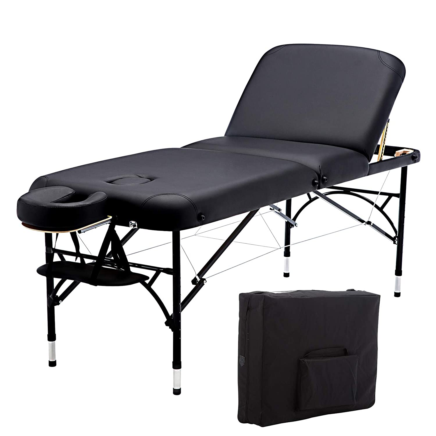 Artechworks 73 Long 28 Wide Professional 3 Folding Portable Lightweight Massage Table Facial Solon Spa Tattoo Bed With Aluminium Leg 2.56 Thick Cushion of Foam