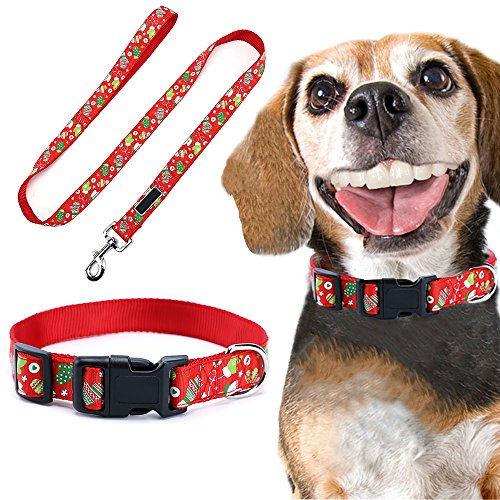 Too Goods Christmas Dog Leash Collar Set Lead Adjustable Pet Collar Strong Nylon Dog Handle Leash Durable Safe Pets Rope/Strap for Walking Training Running (Large, Red - Christmas Gloves) ()