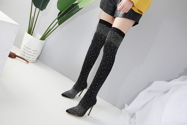 FengJingYuan Damenstiefel, Damenstiefel, Damenstiefel, Strass-Stilettos, Herbst und Winter, Spitze Schuhe, sexy Overknee-Stiefel aus Stretchstoff 424158