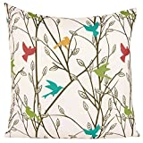 Decorative Pillow Cover - Puredown Canvas Pillow Sham Indoor/Outdoor Cushion Covers Summertime Bird Print Square 18X18 inch Multicolor