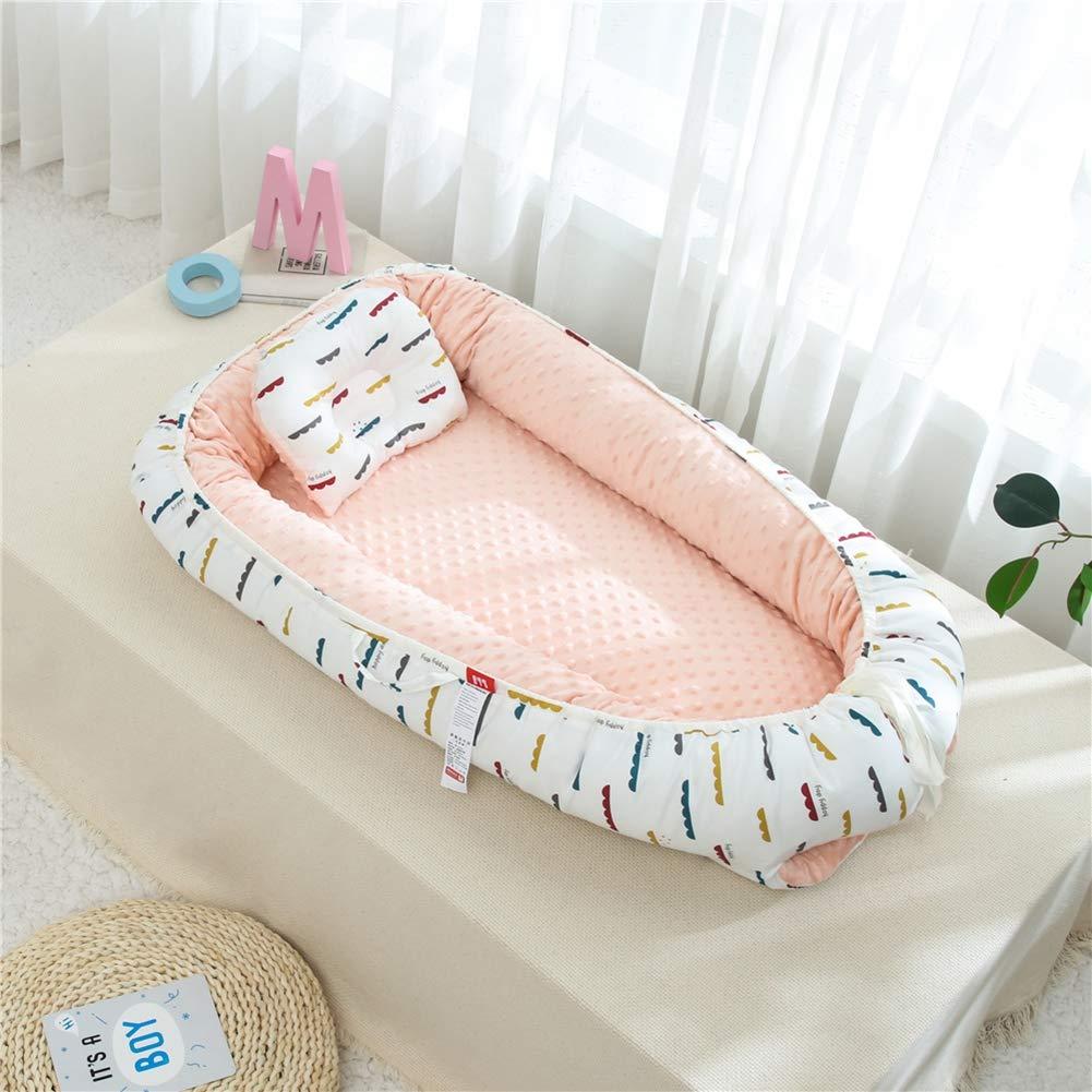 URMAGIC Baby Bassinet for Newborn Boy Girl,Portable Baby Lounger Newborn Snuggle Sleep Nest Foldable Infant Sleeper Bed Newborn Infant Bassinet with Pillow Mattress Core Fence Core
