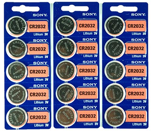 Sony CR2032 3V Lithium 2032 Coin Battery, 15 Pack
