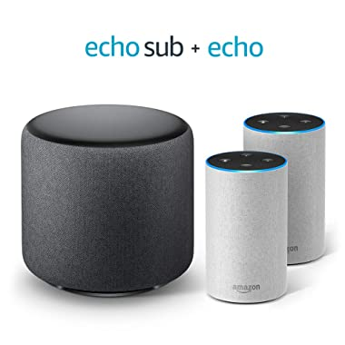 Echo Sub Bundle with 2 Echo (2nd Gen) Devices - Sandstone Fabric
