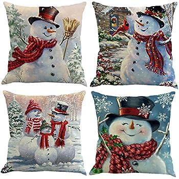 XIECCX Throw Pillow Covers Decorative Pillowcases Christmas Snowman Snowflake Theme 4 Pack-Soft Linen Cotton Design Cushion Cover for Sofa,Bedroom,Chair,Car Seat,Farmhouse 18 x 18