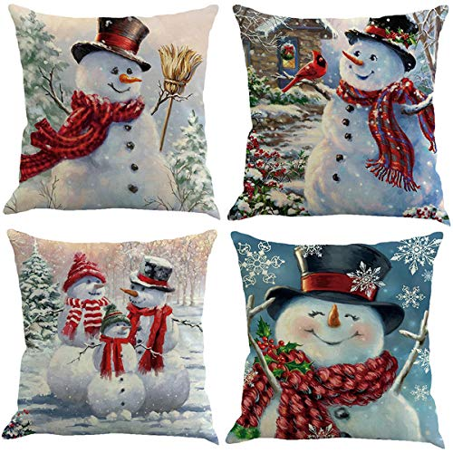XIECCX Christmas Snowman Throw Pillow Covers Decorative Pillowcases Snowflake Theme 4 Pack-Soft Linen Cotton Design Cushion Cover for Sofa,Bedroom,Chair,Car Seat,Farmhouse 18 x 18