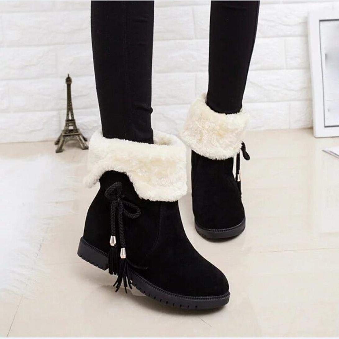 Gyoume Women Snow Boots Winter Ankle Boots Women Shoes Heels Boot Shoes Warm Boots