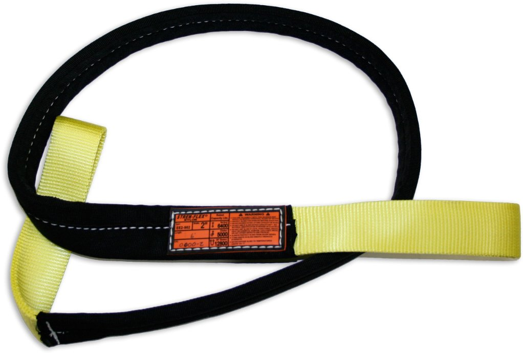 Yellow 1600 lbs Vertical Load Capacity Stren-Flex EET1-901CB-14 Type 4 Heavy Duty Nylon Twisted Eye and Eye Web Sling with Wrapped Body 1 Ply 14 Length x 1 Width