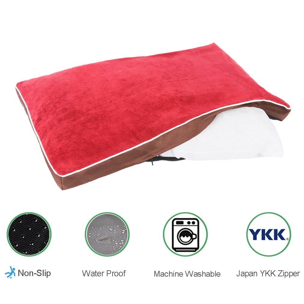 QIAOQI Dog Bed Delux Orthopedic Pet Cushion Mattress for Dogs and Cats Medium Wine Red by QIAOQI (Image #2)