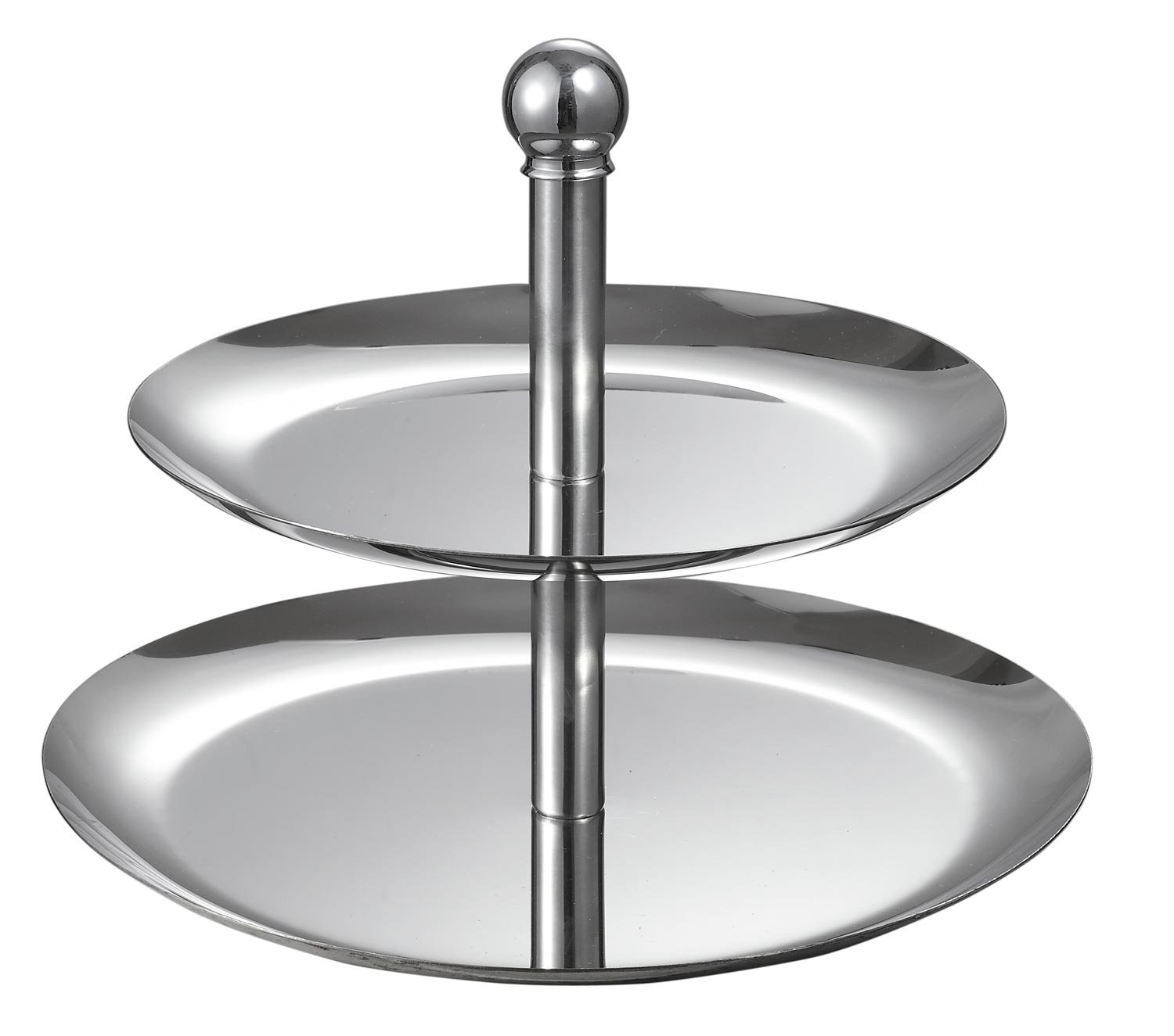 Visol Products 2-Tier Stainless Steel Stand for Serving Candy/Dessert/Cheese/Cupcake/Fruit, Silver VAC328