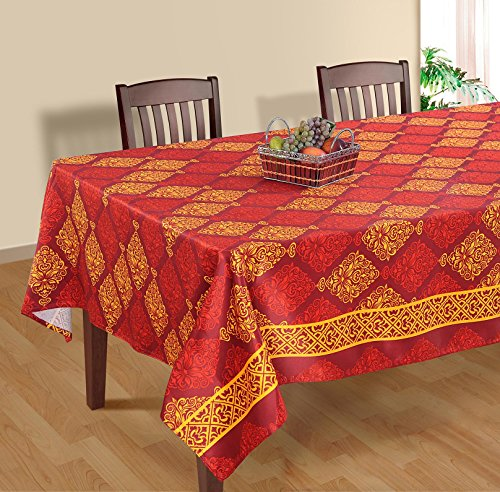 ShalinIndia Damask Square Printed - 60 x 60-Inch Polysateen Table Cloth, Red and Orange